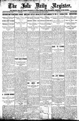 Iola Daily Register And Evening News from Iola, Kansas on January 13, 1908 · Page 1