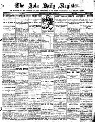 Iola Daily Register And Evening News from Iola, Kansas on January 5, 1909 · Page 1
