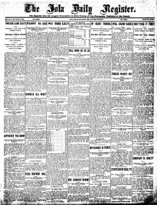 Iola Daily Register And Evening News from Iola, Kansas on January 18, 1908 · Page 1