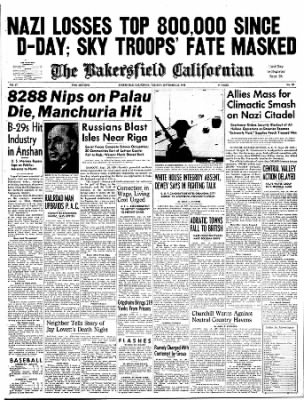 The Bakersfield Californian from Bakersfield, California on September 26, 1944 · Page 1