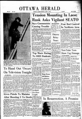 The Ottawa Herald from Ottawa, Kansas on April 8, 1963 · Page 1
