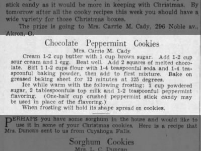 1936: Chocolate Peppermint Cookies recipe