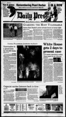 Daily Press from Newport News, Virginia on December 7, 1998