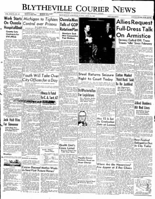 The Courier News from Blytheville, Arkansas on April 25, 1952 · Page 1