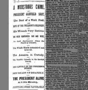 Headlines announcing President Garfield was shot
