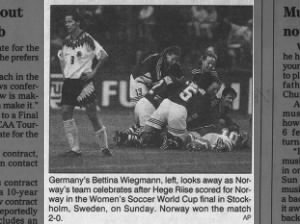Norway pictured celebrating as they overcame Germany to win the 1995 Women's World Cup