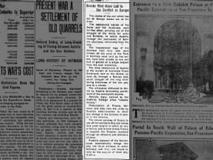 Explanation from July 1914 about the events that led to war in Europe