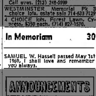 Hassell, In Memoriam, Long Beach Independent, 5-1-1970, p. 44 -