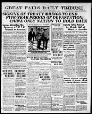Headlines announce signing of the Treaty of Versailles