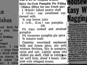 1956 no-bake pumpkin pie recipe with sweetened condensed milk and pumpkin pie spice