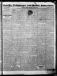 Sample Natchez Newspaper and Public Advertiser front page