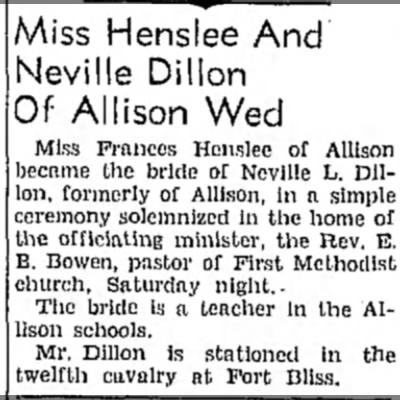Frances Henslee & Neville Dillon Marriage; The Pampa Daily News; December 23, 1941 -