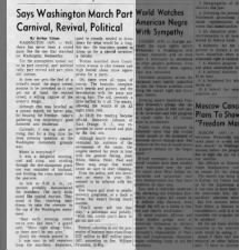 Journalist describes his impressions after attending the March on Washington in August 1963