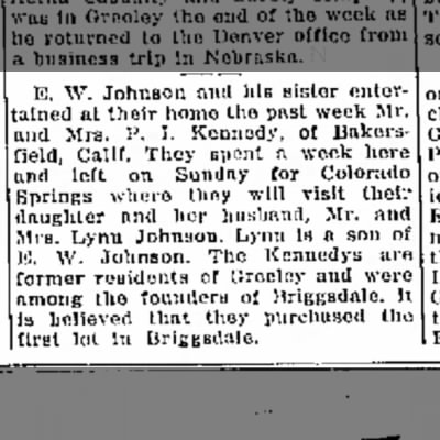 Greeley Daily Tribune - Parks Kennedys founders of Briggsdale - 10 Sep 1935 p5