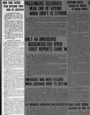 Summary of reactions of New York newspapers to the sinking of the Lusitania