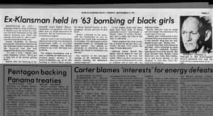 In 1977, ex-Klansman Robert Chambliss becomes first man indicted for 1963 Birmingham Church Bombing