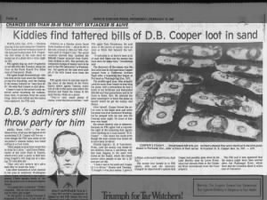 Kids find tattered D.B. Cooper money near Columbia River