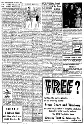 Greeley Daily Tribune from Greeley Colorado on September 20 1960 · Page 4  sc 1 st  Newspapers.com & Daily Tribune from Greeley Colorado on September 20 1960 · Page 4