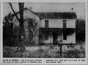 Photo of Ed Gein's house, where remains of murdered women and cadavers were found in 1957