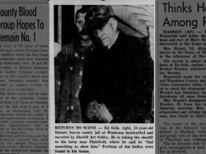 Photo of Ed Gein after being arrested in November 1957