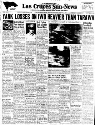 Las Cruces Sun-News from Las Cruces, New Mexico on February 21, 1945 · Page 1