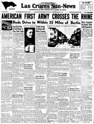 Las Cruces Sun-News from Las Cruces, New Mexico on March 8, 1945 · Page 1