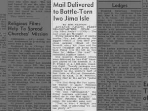 Mail is delivered to Marines on Iwo Jima despite ongoing fighting