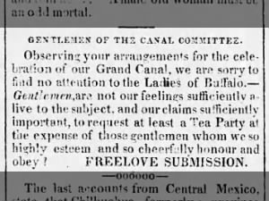 Opinion that women of Buffalo feel left out of the Erie Canal celebrations