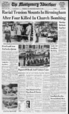 Alabama newspaper's front page the day after the Birmingham Church Bombing