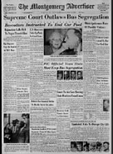 Montgomery newspaper headlines about the Supreme Court's 1956 ruling to end bus segregation