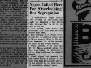Newspaper report of Rosa Parks' arrest in 1955 that sparked the Montgomery Bus Boycott