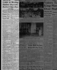Article about the first day of the bus boycott; mentions Rosa Parks and Martin Luther King