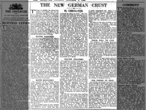 British newspaper opinion piece praises men at Arnhem & reacts to failure of Market Garden