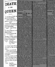British newspaper announcement of the death of Queen Victoria in 1901