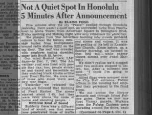Hawaii newspaper reporter gives first-hand account of V-J Day celebrations in Honolulu