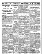 News from England published on V-E Day, 1945