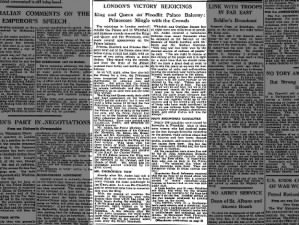 Newspaper article with account of V-J Day celebrations in London, England