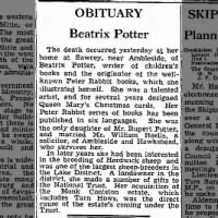 1943 obituary for Beatrix Potter speaks of her author career, conservation, and sheep breeding