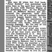 Article segment mentions Beatrix Potter's engagement to Norman Warne, and his death