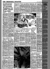 British newspaper articles and political cartoon from the early days of the Chernobyl disaster