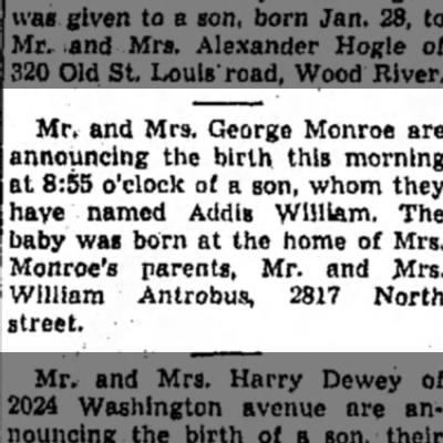 Addis William Monroe born -