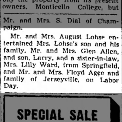 Lohse - Agee - Mr. and Mrs. August Lohsc entertained...
