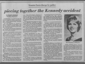 Paper reports Ted Kennedy in car accident; Mary Jo Kopechne dies