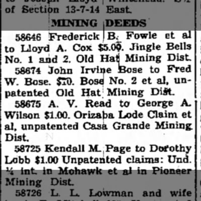 John and Fred Bose Mining Deed -