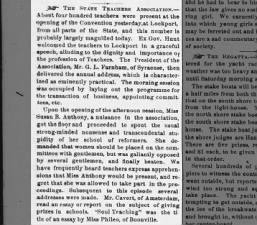 Account of a 1858 New York Teachers Association convention with a negative view of Susan B. Anthony