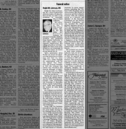 Funeral Notice:  Ralph M. Lehman, 85