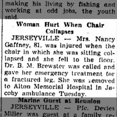 Nancy Antrobus Gaffney injured by collapsed chair -
