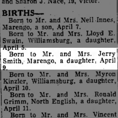 Daughter born to Mr. And Mrs. Jerry Smith -
