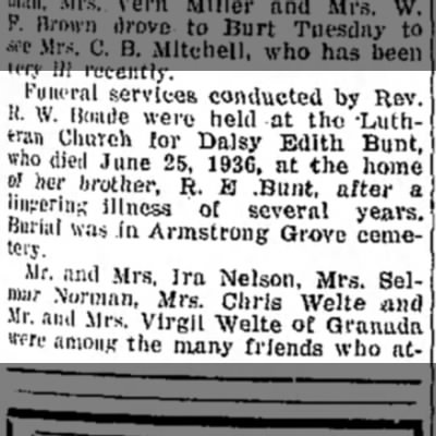 bunt - Funeral services conducted by Rev. H. W. lioade...