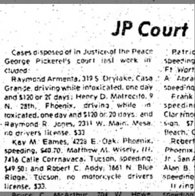Addy Robert C 7 April 1975 p10 - JP Court Cases disposed of in Justicc-of l he 1...